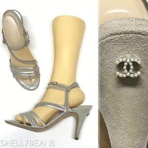 CHANEL Suede Sandals LOGO CC PEARL Heels 39.5 9